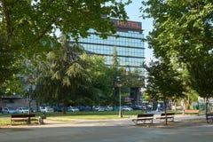 Ranku widok na hotelu od parka Obraz Royalty Free