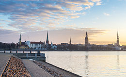 Ranku widok na stary Ryskim, Latvia Zdjęcie Stock