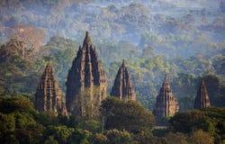 Ranku widok Prambanan Świątynny Yogyakarta Indonezja Obrazy Stock