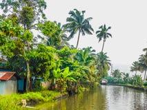 Ranku widok przy Kerala stojącymi wodami zdjęcia royalty free