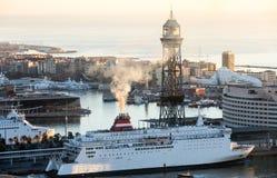 Ranku widok statki w porcie Barcelona Fotografia Stock