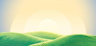 Ranku wiejski krajobraz ilustracja wektor