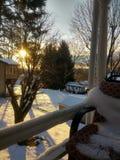 Ranku wschód słońca widok od ganeczka fotografia stock