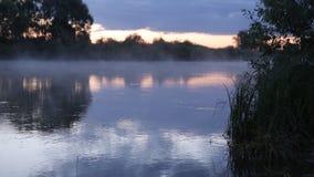 Ranku wschodu słońca odbicie w mglistym mgła wzroscie od bieżącej wody rzecznej zdjęcie wideo