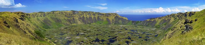 Rano Kao Caldera. Panoramic view of the Rano Kao volcanic crater at Easter Island (Rapa Nui Royalty Free Stock Photos