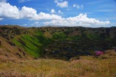 rano kau острова Чили пасхи Стоковая Фотография