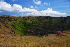 Rano Kau Easter Island, Chile. Rano Kau crater lake - Easter Island (Rapa Nui Stock Photography