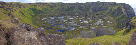 Rano Kau and its Crater on Rapa Nui Royalty Free Stock Photo