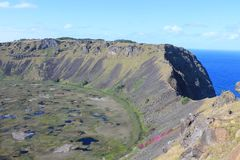 Rano Kau Crater, Easter Island stock image