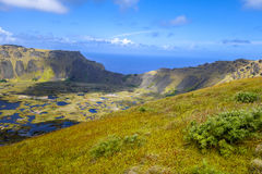 Rano Kau volcano crater in Easter Island Royalty Free Stock Photo