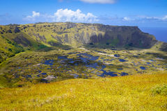Rano Kau volcano crater in Easter Island Stock Image