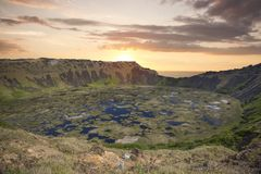 Rano Kau volcano, Easter island stock photography