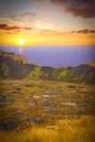 Rano Kau volcano, Easter island stock photography