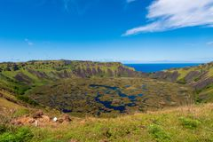 The Rano Kau Volcano on Easter Island royalty free stock photo