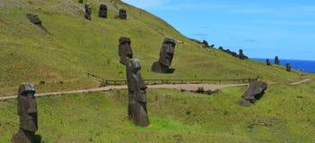 Rano Raraku火山的, Rapa Nui复活节岛湖 库存图片