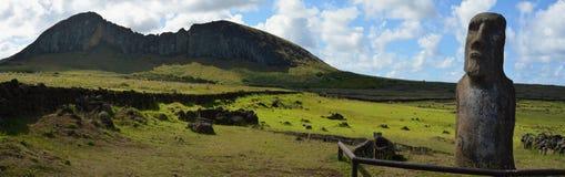 Rano Raraku火山, Rapa Nui复活节岛 免版税库存照片