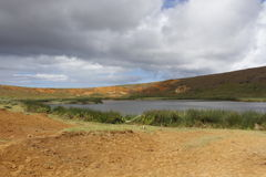Rano Raraku Crater Immagini Stock Libere da Diritti