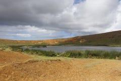 Rano Raraku Crater. Easter Island Chile Royalty Free Stock Images