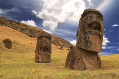 Rano raraku moai. (Easter island Royalty Free Stock Photography