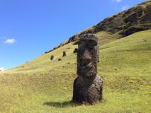 Rano Raraku Moai Factory Foto de archivo libre de regalías