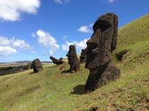 Rano Raraku Moai Factory Fotos de archivo