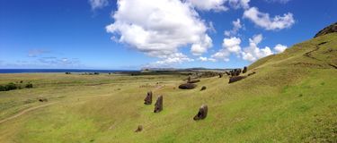 Rano Raraku Moai Factory Panorama Royalty Free Stock Photography