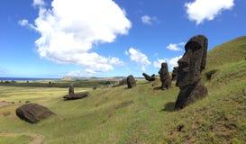 Rano Raraku Moai Factory Panorama Stock Photos
