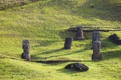 Rano Raraku Moais. Easter Island Royalty Free Stock Images
