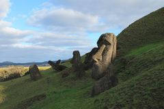 Rano Raraku Moais, Easter Island royalty free stock image