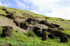 Rano Raraku Moais. Easter Island Royalty Free Stock Photos