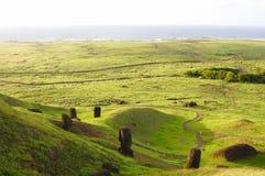 Rano Raraku Moais. Easter Island Stock Photo