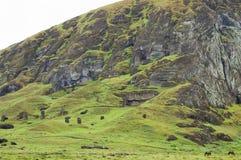 Rano Raraku Mountain. Easter Island Stock Photo