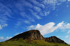 Rano Raraku Mountain - Easter Island. Most of the Moais are located in the vicinity of this mountain Royalty Free Stock Images