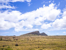 The Rano Raraku mountain Stock Photo