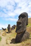 Rano Raraku quarry on Easter Island. Statues at Rano Raraku quarry where the moai of Easter Island were carved Stock Photos