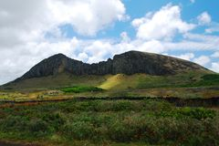 Rano Raraku quarry on Easter Island (Rapa Nui) Royalty Free Stock Images