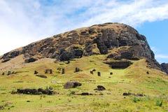 Rano Raraku quarry Easter Island (Rapa Nui) Chile. Rano Raraku quarry where the moai of Easter Island (Rapa Nui) were carved Stock Photos
