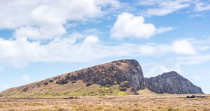 The Rano Raraku quarry. View of the Rano Raraku quarry from the distance in Easter Island Stock Photos