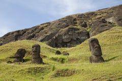 Rano Raraku stone quarry on Easter Island. Photograph of the moais at Rano Raraku stone quarry on Easter Island in Chile Royalty Free Stock Photo
