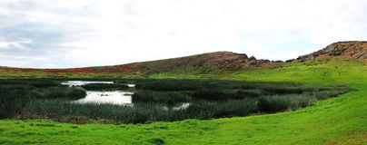 Panoramic Rano Raraku Crater Scene, Easter Island Chile royalty free stock photography