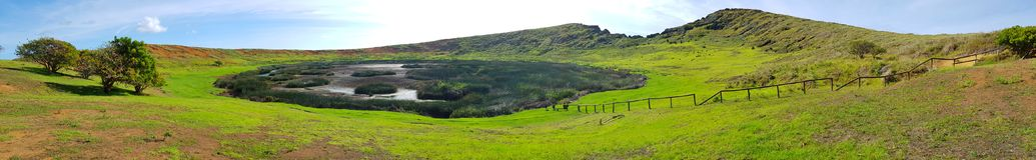 Rano Raraku volcano, Easter Island, Chile royalty free stock photography