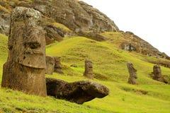 Rano Raraku volcano. Long shot of Moai statues at the famous Moai statue quarry around the Rano Raraku volcano in Easter Island, Rapa Nui, Chile, South America Royalty Free Stock Photography