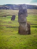 Rano Raraku volcano, the quarry of the moai with many uncompleted statues. Rapa Nui National Park, Easter Island, Chile. UNESCO. World Heritage Site. Island stock photography