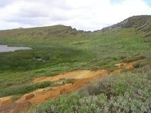 Rano Raraku Vulkan auf Ostern-Insel Stockfotos
