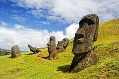 Rano Raruku Moai Fotografía de archivo libre de regalías