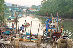 Ranong Pier, fishing in Thailand Stock Images