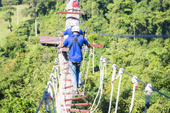 RANONG,THAILAND - JANUARY 12,2016 : two men climbing rope at the Stock Image