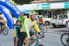 RANONG, THAILAND - 10. MAI: Fahrradtourismuskampagne für Reisenden Stockbild