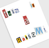 Ransom. A ransom note made with cut out magazine letters Royalty Free Stock Image