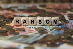 Ransom - cube with letters, sign with wooden cubes Stock Photos